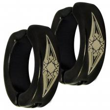 Stainless Steel Black PVD Sun Tribal Design fake huggie Earring