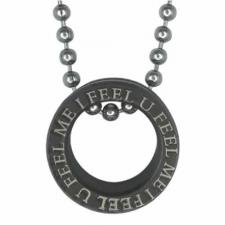 Stainless Steel Chain w/14mm Flesh Tube w/PVD Black & Laser Script