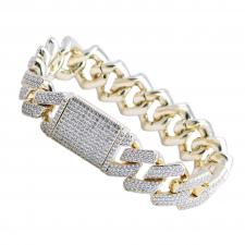 Fashion Brass Micro Pave Gold CZ Link Encrusted Bracelet- 8 INCHES