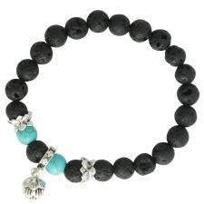 Black Lava Stone Stretch Cord Bracelet with Lotus Flower Dangle Charm