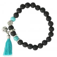 Black Lava Stone with Turquoise bead Stretch Cord Bracelet and Lotus Flower charm