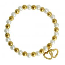Stainless steel White & Gold Beaded Bracelet with Double Hearts