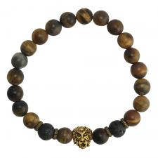 Matte Tiger Eye Beaded Bracelet With Gold Lion Head