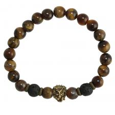 Brown Marble and Black Lava Stone Stretch Cord Bracelet with Gold Lion Charm