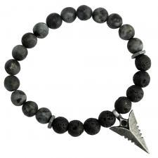 Black Lava & Black Beads Bracelet with Stainless Steel Spear