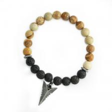 Brown and Black Lava Stone Beaded Stretch Bracelet with Spear Head Charm