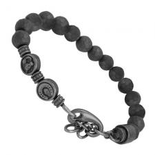 Stainless Steel Grey Beaded Bracelet with Horse and Horseshoe Charms