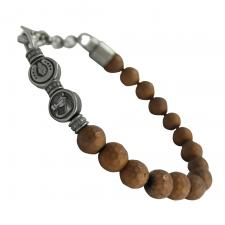 Stainless Steel Brown Beaded Bracelet with Horse and Horseshoe Charms