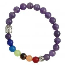 Purple Marble Bracelet with Colorful Beads and Buddha Head