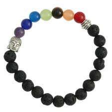 Black Lava Stone with Colorful Beads and Buddha Head