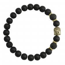Black and Gold Beaded Buddha Bracelet