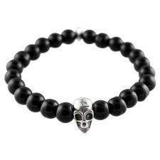 Black Stretch Bead Bracelet with Skull Charm