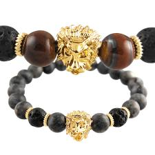 Stretch Cord Bracelet with Natural Beads and a Centered Lion Charm
