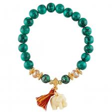 Turquoise Stretch Bead Bracelet with Elephant Charm