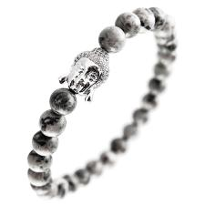Natural Stone Stretch Bracelet with Micro Pave Buddha Head