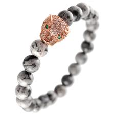 Natural Stone Stretch Bracelet with Micro Pave Cheetah Head