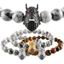 Natural Stone Stretch Bead Bracelet