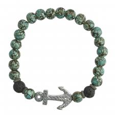 Teal Marble Bead Bracelet with Encrusted Anchor