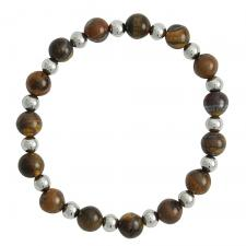 Brown Marble with Silver Beads Bracelet