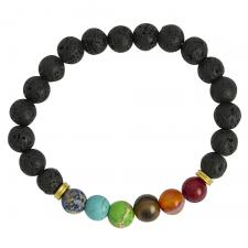 Black Lava Stone Bead Bracelet with Rainbow Marble Beads