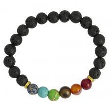 Black Lava Stone Bead Bracelet with Rainbow Marble Beads