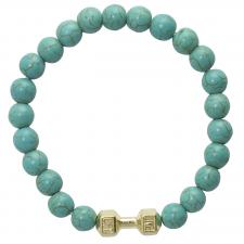 Marble Teal Beaded bracelet with Gold Weight Charm