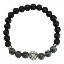 Black Beaded and Grey Marble Bracelet with Lion Charm