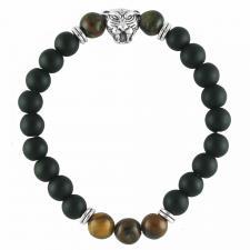 Black & Tiger Eye Beaded Bracelet W/ Steel Tiger Accent