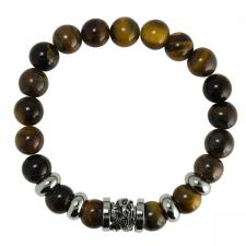 Tiger Eye Beaded Bracelet with Dragon Charm