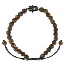 Adjustable Bead Bracelet W/ BLK Hamsa Pave Accent