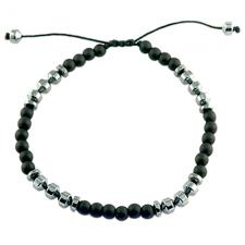 Adjustable Black Bead Bracelet With Hematite Accents