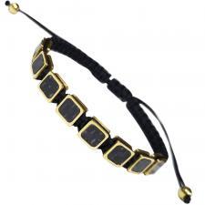 Black Macramé Bracelet With Carbon Fiber & Stainless Steel Accents