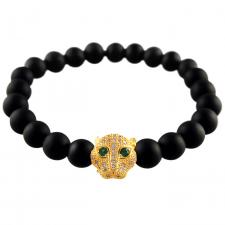 Stretch Bracelet with Black Matte Finished Beads and Gold Tone Tiger Face