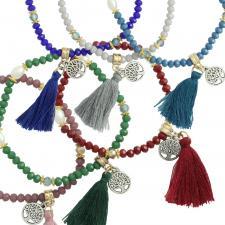 Crystal Bead Tree of Life charm with Tassel