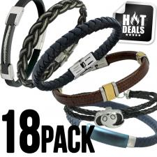 Assorted 18 Stainless Steel & Leather Bracelet Pack