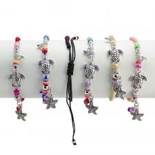 Mermaid & Turtle Mix Color Nylon Bracelets 12PCS