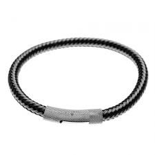 Stainless Steel and Black Wire Woven Cable Bracelet