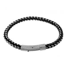 Stainless Steel and Black Woven Wire Cable Bracelet