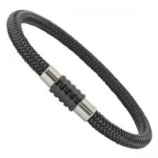 Stainless Steel Black Bracelet with Magnetic Twist Closure