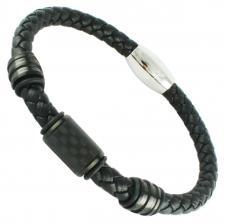 Black Braided Leather Bracelet w/ Carbon Fiber Barril Accent