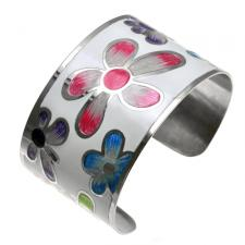Stainless Steel and White Floral Design Cuff Bracelet Painted with Multi Colored Pearl Enamel