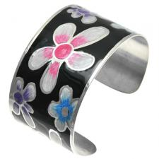 Stainless Steel and Black Floral Design Cuff Bracelet Painted with Multi Colored Pearl Enamel