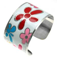 Stainless Steel and White Cuff Bracelet w/ Painted Floral Enamel Design