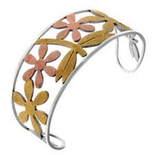 Tri-Colored Stainless Steel Cuff Bracelet w/ Sandblast Cutout Patterns