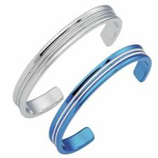 Vivid Stainless Steel Bangle (316L) with Stripes