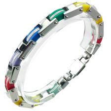 Very Nice Stainless Steel Bracelet With Colors Of the Rainbow Links