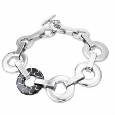 Stainless Steel Bracelet With Circle Link and One Rose Gold Or Black PVD Link--Certain Lady Collection