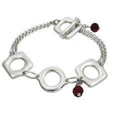 Gorgeous Stainless Steel Bracelet With 2 Garnet Dangling Stones -- Certain Lady Collection