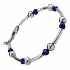 Stainless Steel Bracelet With Violet Beads