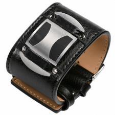 Wonderful Leather and Steel Cuff Bracelet, Matte Epoxy